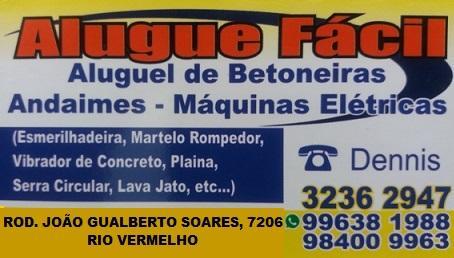 ALUGUE FÁCIL - ALUGUEL DE MÁQUINAS E EQUIPAMENTOS PARA CONSTRUÇÃO NO RIO VERMELHO NORTE DA ILHA